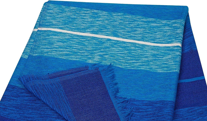Plaid Marocain Couvre Lit Couverture Fine Jeté de Lit en Laine Coton et Soie Tissé Main Rouge Dégradé Bleu