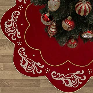 Valery Madelyn 48 inch Luxury Red Gold Christmas Tree Skirt with Baroque Patterns, Themed with Christmas Ornaments (Not Included)