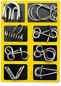LEZHI IQ Toys-AB A+B Test Mind Game Brain Teaser Wire Magic Trick Toy IQ Puzzle Set (Pack of 16), Metallic