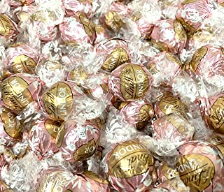 Sunny Island Lindt Lindor Neapolitan White Chocolate Truffles Candy, Light Pink Wrap Bulk - 2 Pound Bag (65 Count)