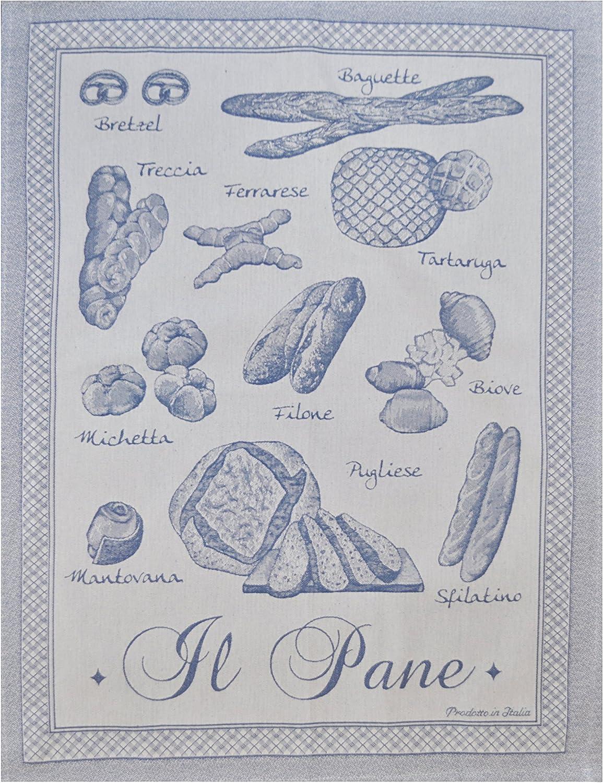 Abbiamo Tutto Breads of  Collection Kitchen Towel, bluee