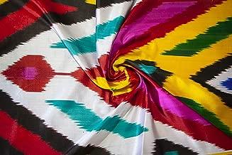 Uzbek Colorful Handmade Silk Ikat Fabric Atlas by The Metre 1.09 Yard Uzbekistan Fabrics