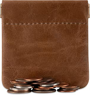 Genuine Leather Squeeze Coin Purse Change Holder U.S.A. Made Coin Pouch For Men/Woman Size 3.5 X 3.5