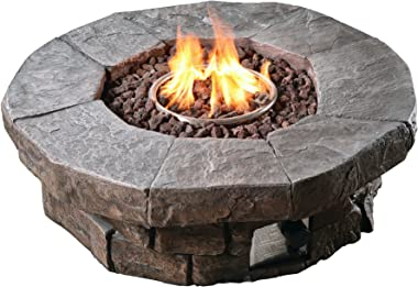 Peaktop Round Stone Look Slate Effect Propane Gas Fire Pit Table with ETL Certification and Lava Rocks for Outdoor Patio Gard