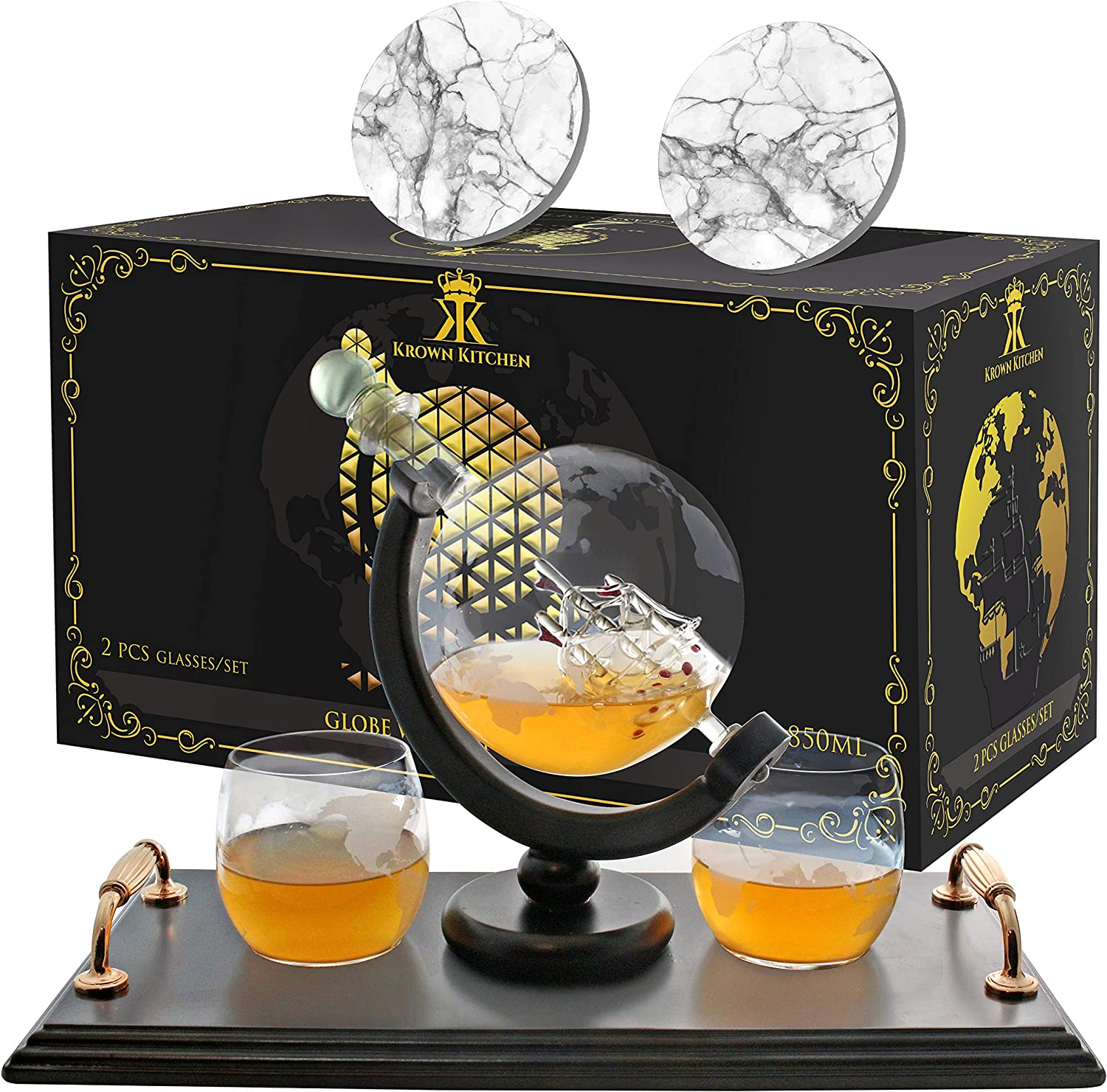 KROWN KITCHEN - Globe NEW before selling Whiskey Set. gla Decanter 40% OFF Cheap Sale Includes