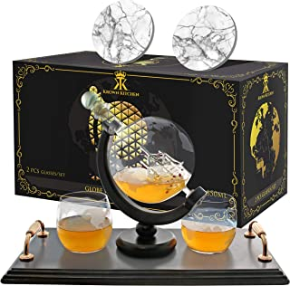 KROWN KITCHEN - Globe Whiskey Decanter Set. Includes Whiskey glasses, coasters, and wood base. Perfect Dad Gifts. For bourbon, scotch, liquor, etc