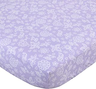NoJo 100% Cotton Fitted Crib Sheet, Butterfly Flowers, Lavender/White