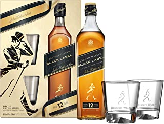 Johnnie Walker Black Label, Geschenkpackung mit 2 GläsernBlended Whisky 1 x 0.7 l