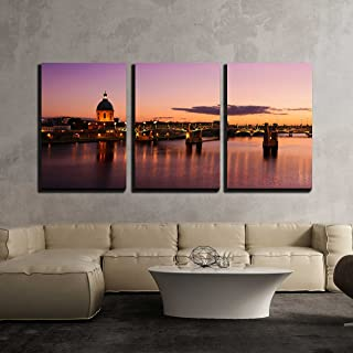 wall26 - 3 Piece Canvas Wall Art - Purple Sunset at Toulouse City - Modern Home Decor Stretched and Framed Ready to Hang - 24