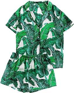 Floerns Conjunto de pijama de dos piezas con cuello de muesca, estampado de hojas de palmera, Verde, L