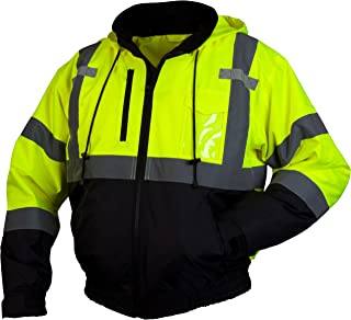 Pyramex RJ31 Series Lumen X Class 3 Fleece Bomber Safety Jacket, Lime, 3X Large