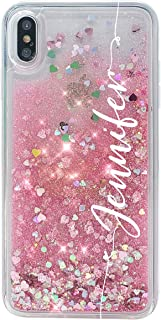 MARBLEFY Personalized Pink Glitter case for iPhone Xs Max/Xr/Xs/X/8/7/6/Plus Spiracle Holographic Quicksand Protective Clear Case