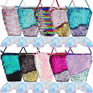 Frienda 10 Pieces Mermaid Tail Coin Purse Mermaid Tail Sequin Crossbody Coin Wallet Bags for Kids Little Girls Mermaid Par...