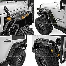 Razer Auto Rock Crawler Stubby Gloss Black Painted Pocket Style+Rivet Front+Rear 4pcs Fender Flares w/ 10x LED Light Side Maker (Black) for 07-17 Jeep Wrangler JK