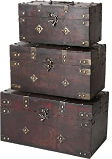 SLPR Montgomery Wooden Boxes (Set of 3, Brown) | Decorative Wooden Chest with Metal Elements Treasure Stash Box Old-Fashioned Antique Vintage Style for Birthday Parties Wedding Decoration
