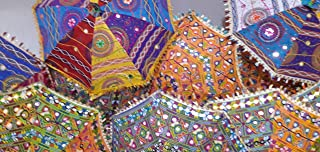 Indian Handmade Designer Cotton Fashion Multi Colored Umbrella Embroidery Boho Umbrellas Parasol 10 Pcs Lot