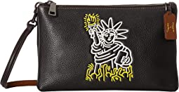 COACH Keith Haring Pebbled Leather Lyla Crossbody,Black