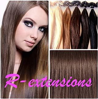 100extensiones de cabello naturales 50cm instalación a cálido Keratina Nail Tip Castaño Chocolate # 4