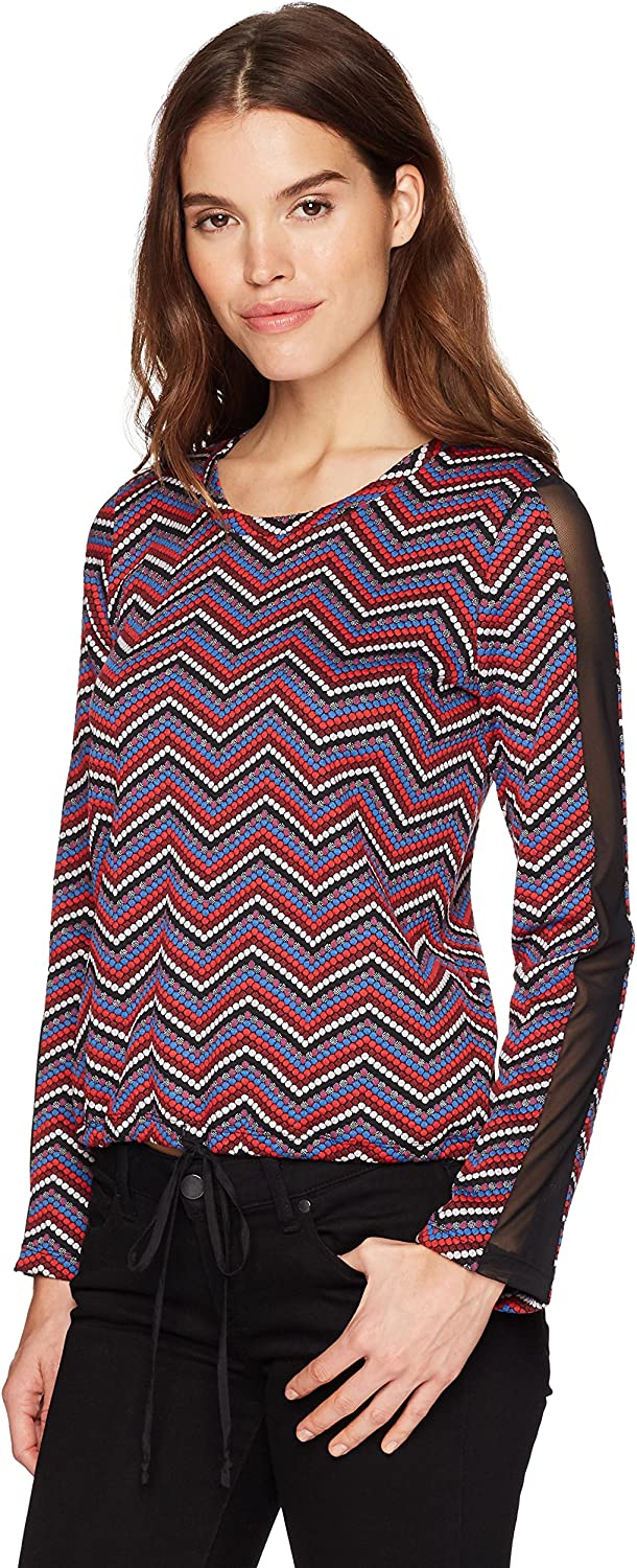 BCBGeneration Women's Contrast Mesh Top