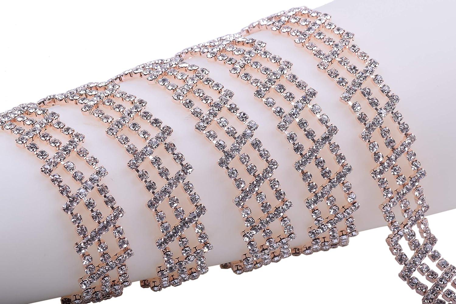 KAOYOO 1 Yard Lattice Crystal Rhinestone Rose Gold Chain Trim with Clear Crystal Rhinestone Chain for Sewing Craft,Wedding Decoration