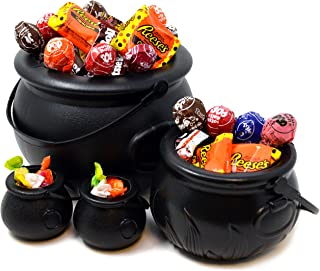 JOYIN 4 stuks zwarte heksenketels met handgrepen, 20,3 cm decoratieve ketel voor snoep voor Halloween party decoratie, sno...