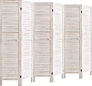 Rose Home Fashion 5.6 Ft Tall Wood Louvered Room Divider Solid Wood Folding Room Divider Screens Panel Divider & Room Dividers Room Dividers and Folding Privacy Screens (6 Panel, White-Washed)