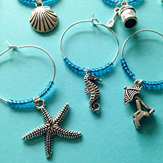 Beach Themed Wine Charms, Gift for Beach Lover, beach themed, beach Vacation, Summer at the Shore, Set of 8. AQUA BEADS.