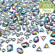 300 Pieces Sew on Rhinestone Sew on Crystals Acrylic Gems AB Rhinestones Flatback Crystal Gems for DIY Crafts Dress, Clothes, Shoes, Bag Decorations