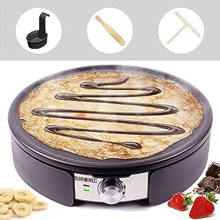 Duronic PM152 - Tabla de crepes (1500 W, placa antiadherente de 37 cm, accesorios incluidos, temperatura regulable, ideal para hacer tortitas, tortitas, tortillas, tortillas, etc.)