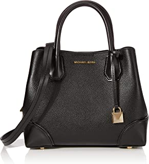 Michael Kors 30H7GZ5T1T-001 Mercer Gallery Small Pebbled Leather Satchel, Black