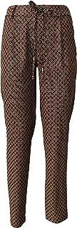 LA FEE MARABOUTEE Pantalone Donna Fantasia Nero/Cuoio MOD FA1256 Made in Italy