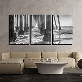 wall26 - 3 Piece Canvas Wall Art - A Black and White Shot Looking Out from Under The Huntington Beach Pier - Modern Home Decor Stretched and Framed Ready to Hang - 24