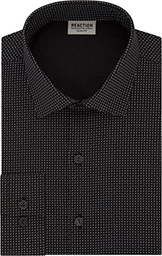 Kenneth Cole REACTION Hommes's Technicole Slim Fit Stretch Print Spread Collar Robe Shirt, noir, 16  Neck 34 -35  Sleeve