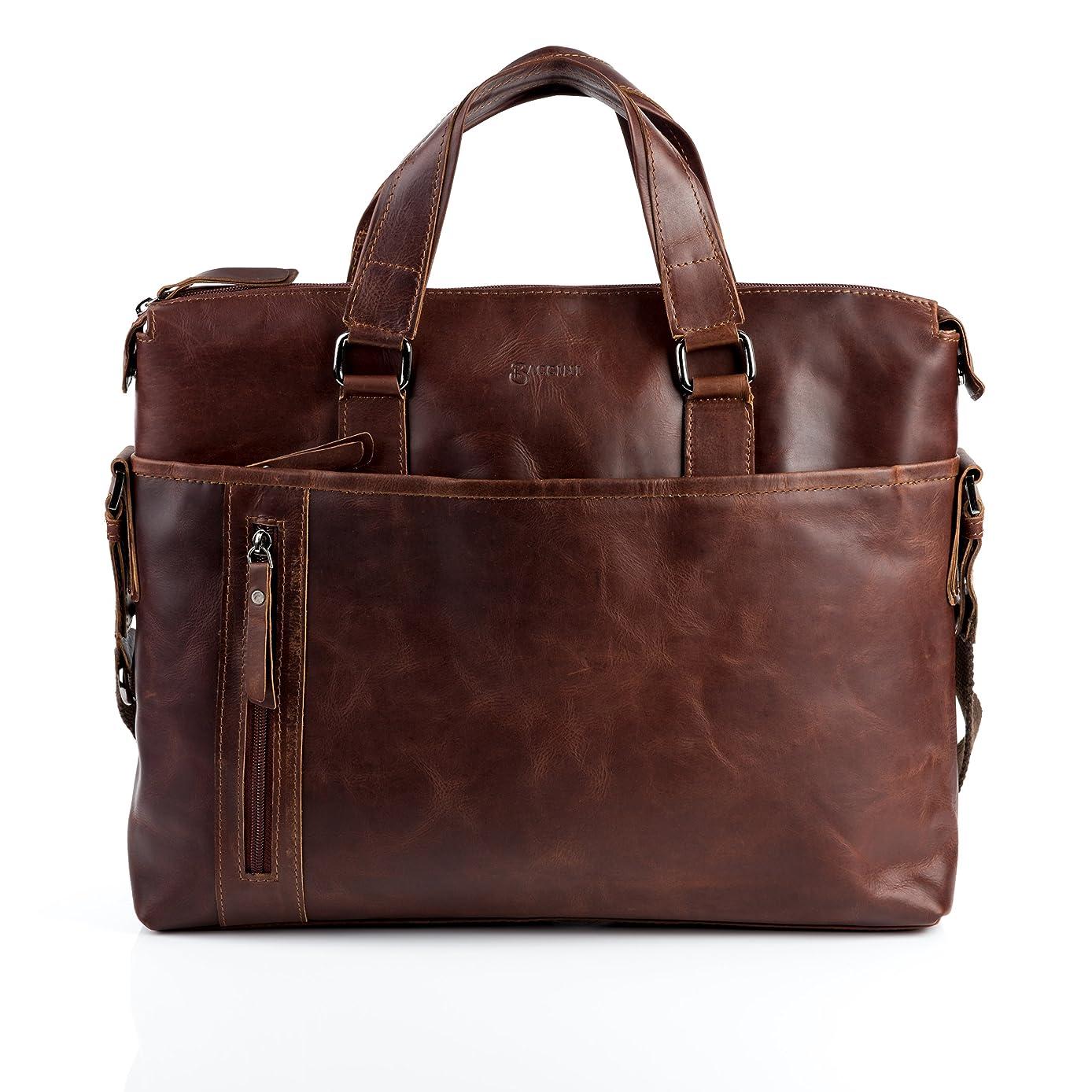 BACCINI real leather laptop bag LEANDRO large business office work school shoulder bag 15 inch satchel briefcase 15.6