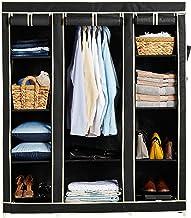 Amazon Brand - Solimo 3-Door Foldable Wardrobe, 10 Racks, Black