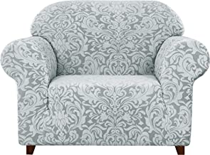 subrtex 1-Piece Jacquard Damask High Stretch Sofa Couch Armchair Slipcover Furnitures Protector with 1 Seater Cushion Couch Slip Cover Settee Coat for Living Room with Pets (Chair, Light Smoky Gray)