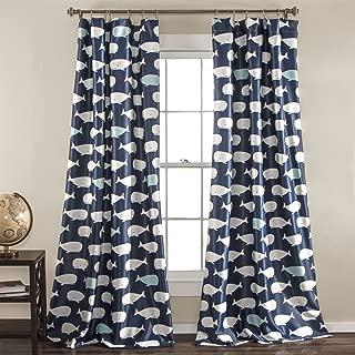 "Lush Decor Whale Curtains-Animal Ocean Print Design Room Darkening Window Panel Set for Living, Dining, Bedroom (Pair), 84"" x 52"", Navy, 84"