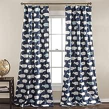 Lush Decor Whale Window Curtain Panel Pair, 84 inch x 52 inch, Navy, Set of 2