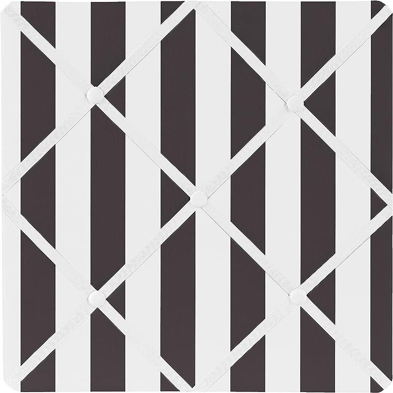 Sweet Jojo Designs Black And White Stripe Fabric Memory Memo Photo Bulletin Board For Paris Collection