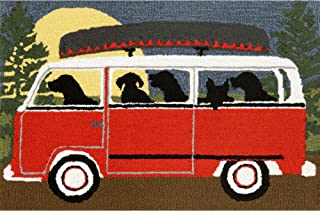 Liora Manne FT123A51624 Whimsy Dogs Fall Travel Rug 24 x 36 Red