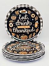 Set of 6 Thanksgiving, Fall Themed Melamine Dinnerware - Dessert - Appetizer - Salad Plates (Buffalo Check)