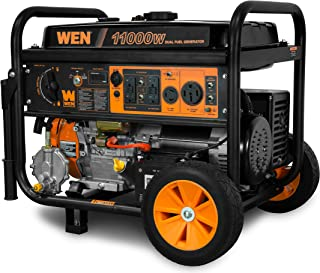 WEN DF1100T 11,000-Watt 120V/240V Dual Fuel Portable Generator with Wheel Kit and Electric Start - CARB Compliant, Black