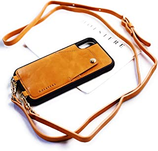 Genuine Vintage Eco-Friendly Leather iPhone Snap-On Case Crossbody - Cell Phone Purse Cross Body w/ Wallet ID Card Holder Sleeve, Adjustable Shoulder Strap; iPhone Leash (Tan/Beige, iPhone XR)