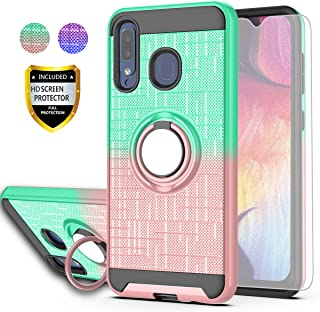 Galaxy A20 Case,Galaxy A30 Case,Galaxy A50 Case with HD Screen Protector,AYMECL Ring Holder Gradient Dual Layer Protective Case for Samsung Galaxy A50/A30/A20-BG Mint&Rose Gold