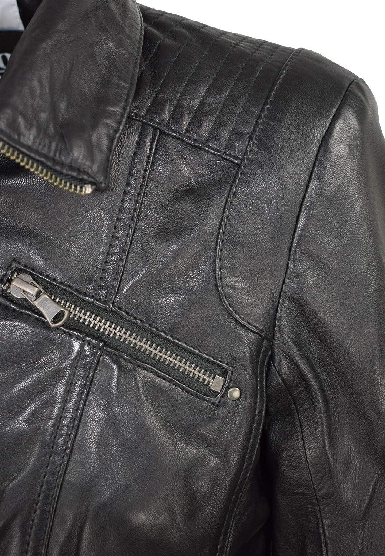 COCO BLACK LABEL since1986 Damen Lederjacke Ripley mit Stehkragen im Modernen Biker-Look Schwarz