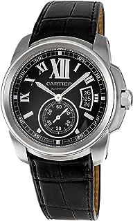 Cartier Mens W7100041 Calibre de Cartier Leather Strap Watch