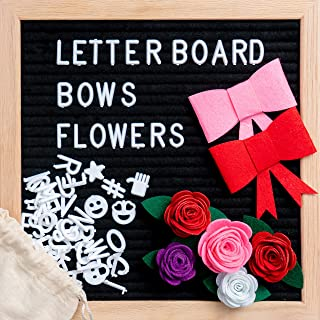 Black Felt Letter Board 10 x 10 inch Changeable Letter Board Bulletin Message - Includes 340+ White Letters Symbols Emojis with Stand, Oak Frame, Felt Flowers, Red Pink Bows, Canvas Bag, Wall Mount.