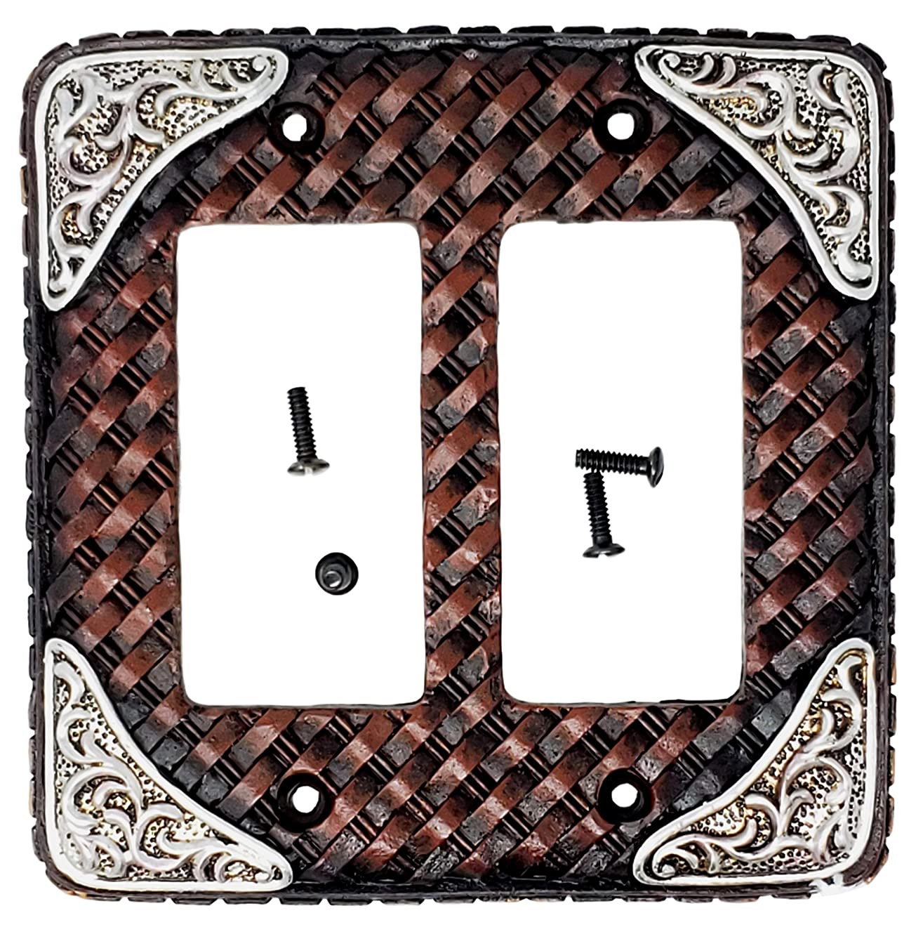 LEATHER DOUBLE ROCKER SWITCH PLATE COVER