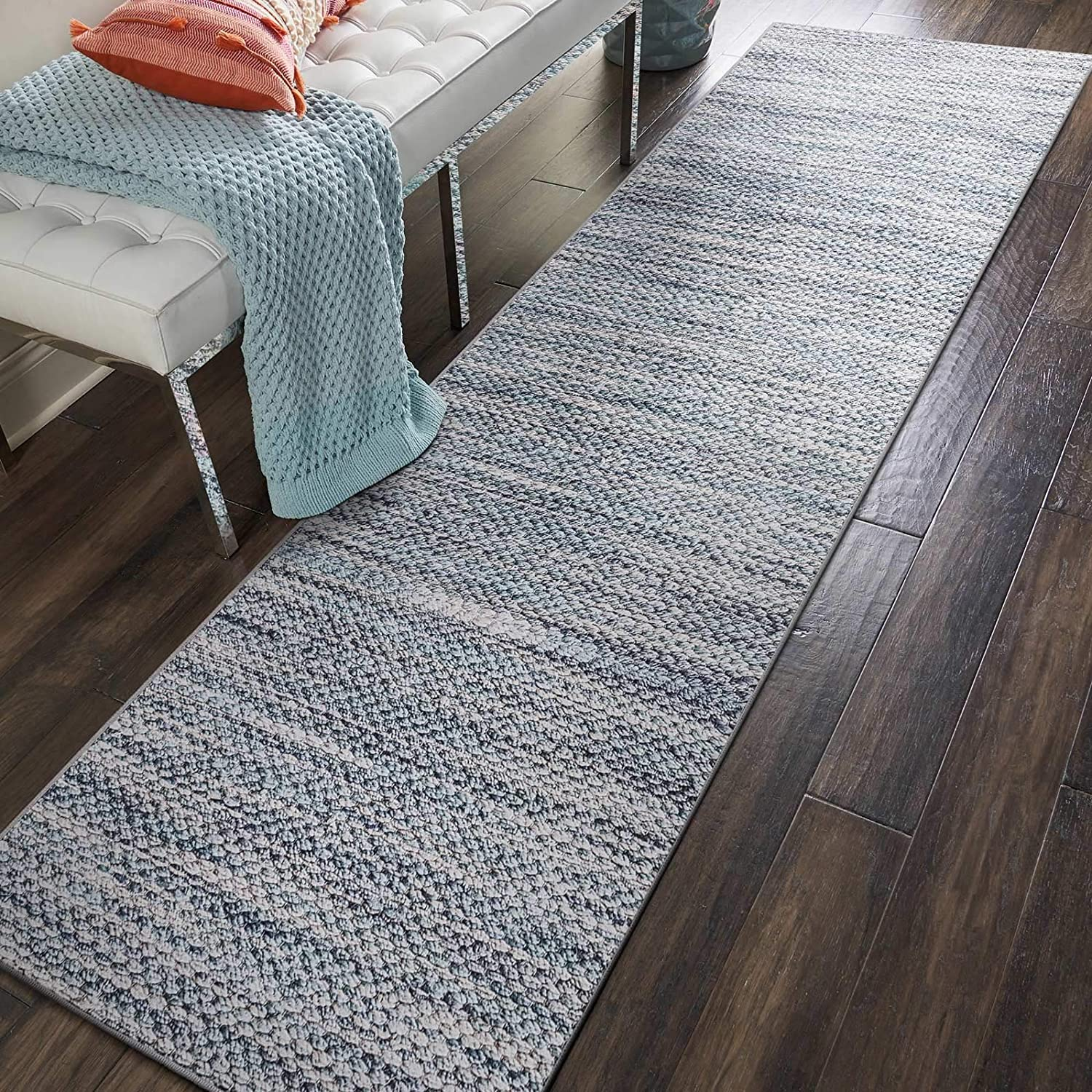 Black//Light Grey Decomall Runner Rug for Hallyway Diamond Geometric Printed Long Carpet for Kitchen Entryway 2.5x9