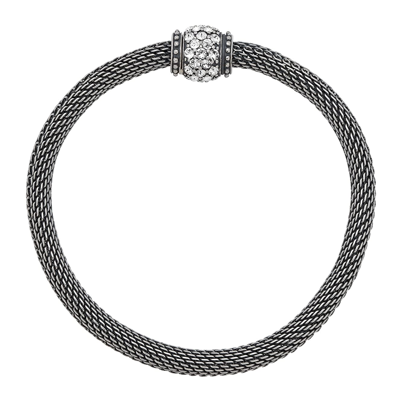 Silpada 'Mesh Together' Bead Stretch Chain Bracelet with Swarovski Crystals in Sterling Silver, 7